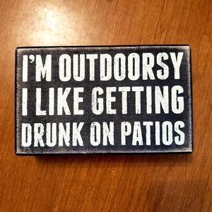 Wooden patio sign
